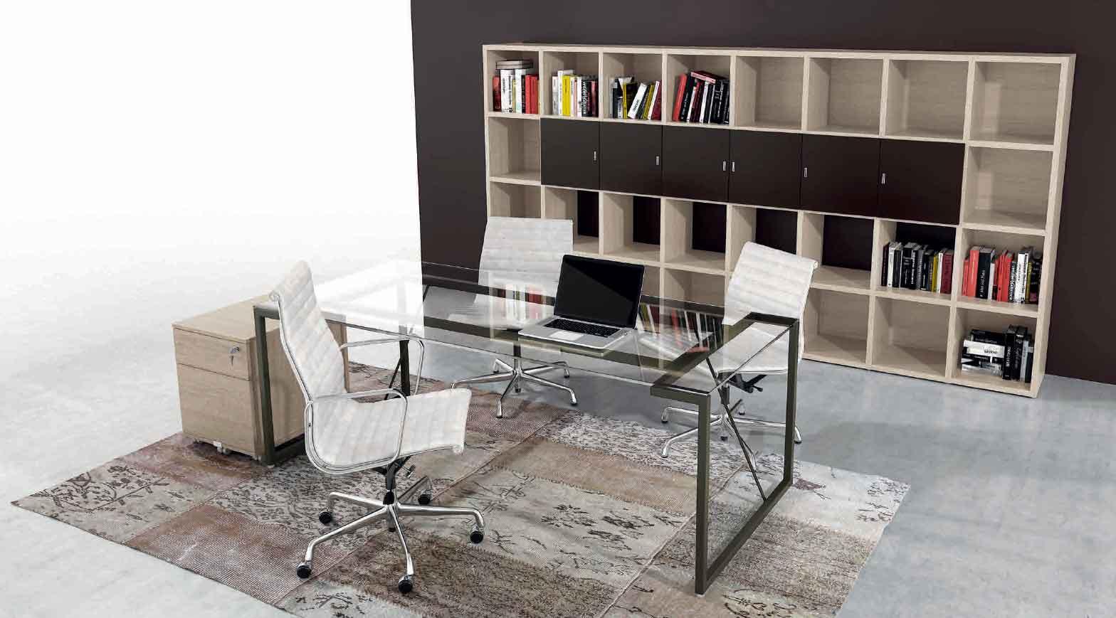 Nuovo trend scrivanie per ufficio piano in cristallo for Arredi per ufficio milano
